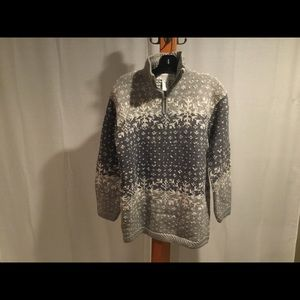 Vtg Nordic Fair Isle 1/4 zip wool blend sweater S